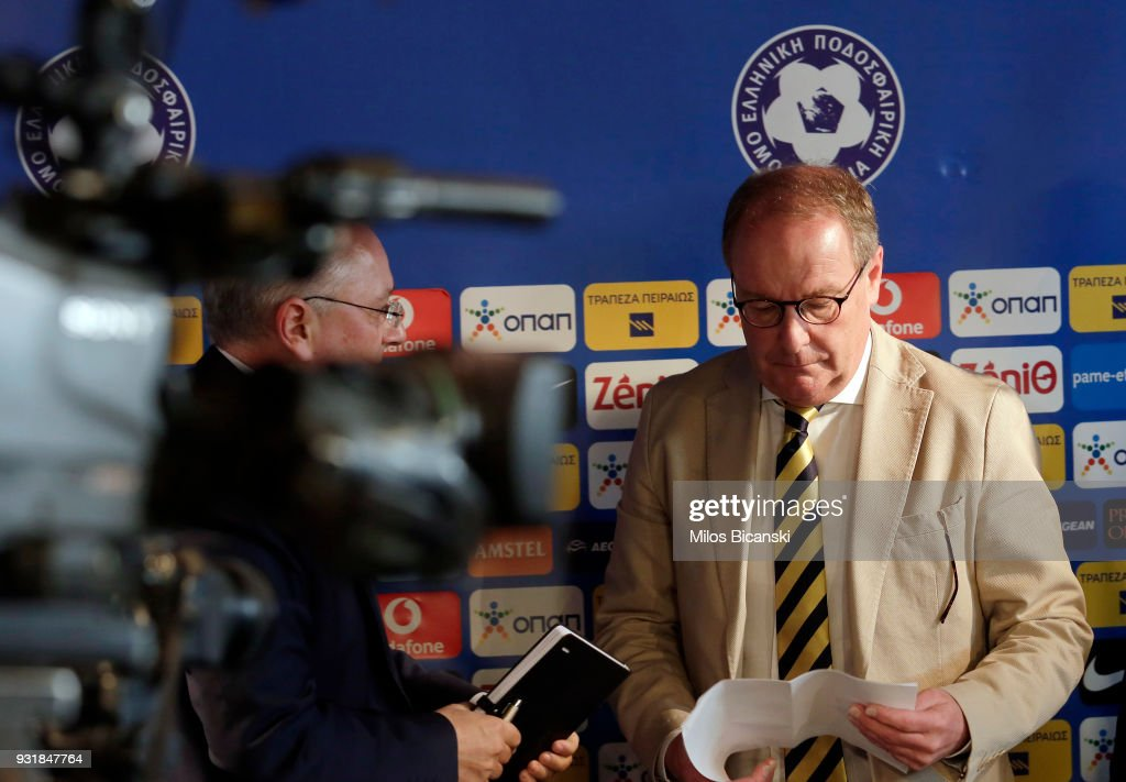 Herbert Hubel FIFA chairman of the monitoring committee for the Greek Football Association, (R) attends a press conference on March 14, 2018 in Athens, Greece. FIFA and UEFA urged the Hellenic Football Federation to adopt strict measures after the incident involving Ivan Savvidis, the owner of the Greek soccer team PAOK storming the field while armed with a holstered handgun at the end of the Greek Super League match on Sunday against AEK Athens.