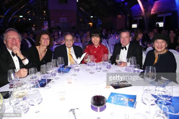 Herbert Kloiber, Innegrit Volkhardt, Arthur Cohn, Soyeon Schroeder-Kim, Gerhard Schroeder, Naomi Cohn during the Cinema for Peace Gala at the...