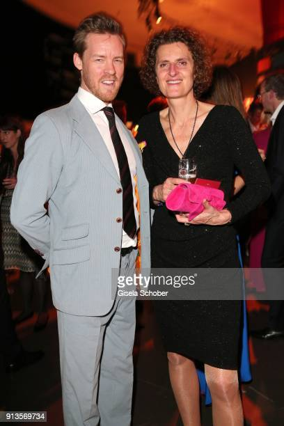 Herbert Kloiber jr and Innegrit Volkhardt owner Hotel Bayerischer Hof during Michael Kaefer's 60th birthday celebration at Postpalast on February 2...