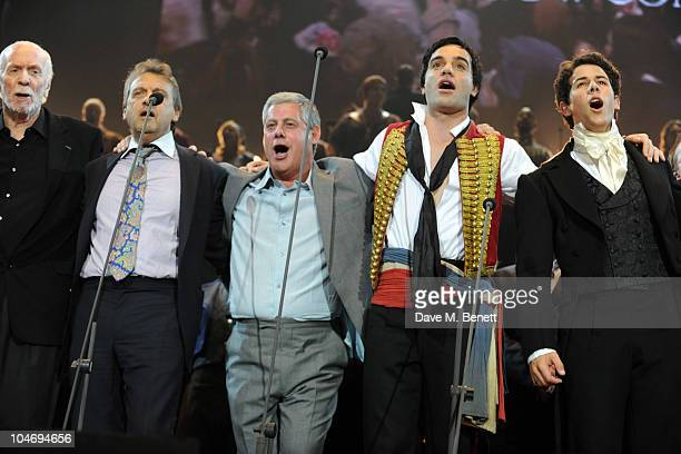 Herbert Kretzmer Alain Boublil Cameron Mackintosh Ramin Karimloo and Nick Jonas perform on stage during the anniversary performance of 'Les...