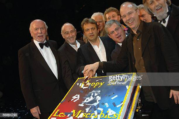 Herbert Kretzmer ClaudeMichelle Schonberg Alain Boublil Sir Cameron Mackintosh and John Caird on stage at the '20th Anniversary Celebration of Les...