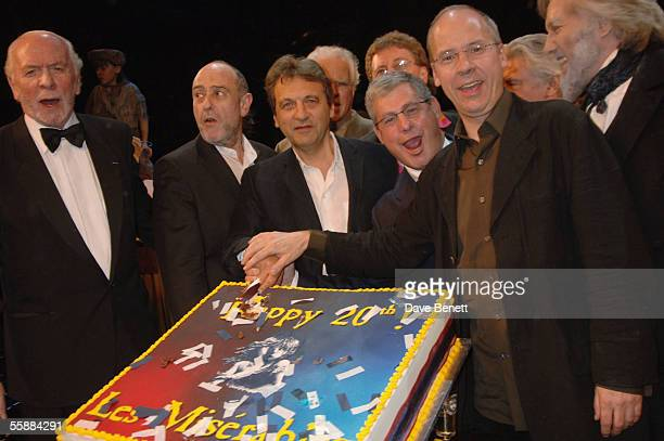 Herbert Kretzmer ClaudeMichelle Schonberg Alain Boublil Sir Cameron Mackintosh and John Caird on stage at the 20th Anniversary Celebration of Les...