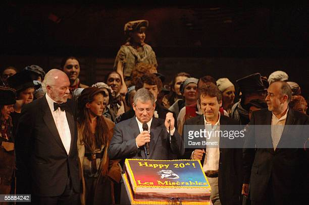 Herbert Kretzmer Sir Cameron Mackintosh ClaudeMichelle Schonberg and Alain Boublil at the '20th Anniversary Celebration of Les Miserables' show at...