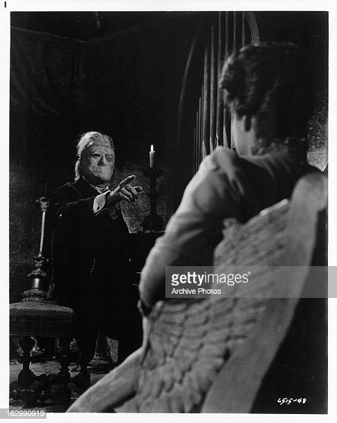 Herbert Lom points to Heather Sears in a scene from the film 'Phantom Of The Opera' 1962