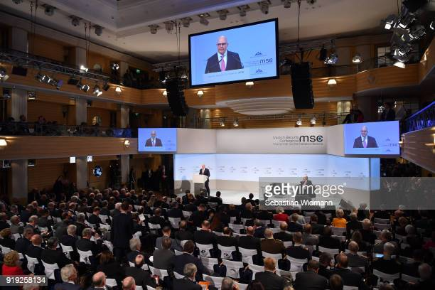 Herbert Raymond McMaster Lieutenant General National Security Advisor to the President of the USA delivers a speech at the 2018 Munich Security...