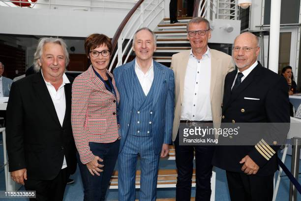 Herbert Seckler, Dorothea Sihler-Jauch, Karl J. Pojer, Guenther Jauch and Olaf Hartmann during the MS Europa meets Sansibar cruise on July 12, 2019...