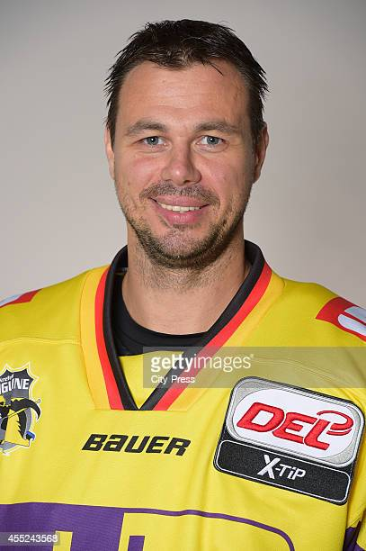 Herberts Vasiljevs of Krefeld Pinguine during the portrait shot on august 14 2014 in Krefeld Germany