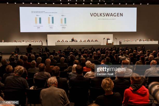 Herbet Diess Chairman of German automaker Volkswagen AG speaks at the company's annual shareholders' meeting on May 14 2019 in Berlin Germany...