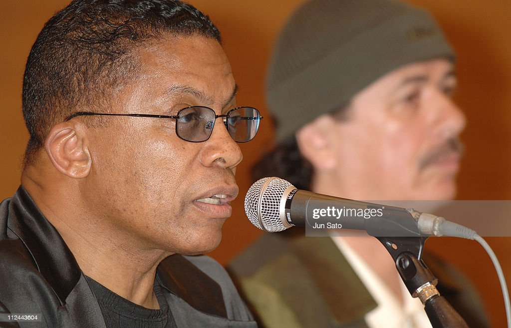 Herbie Hancock and Carlos Santana during Carlos Santana, Herbie Hancock And Wayne Shorter - Emissaries for Peace Tour - Tokyo Press Conference - July 26, 2005 at Min-On Culture Center in Tokyo, Japan.