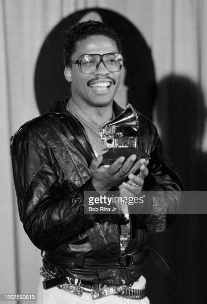 Herbie Hancock backstage during the 26th Annual Grammy Awards at the Shrine Auditorium, February 28, 1984 in Los Angeles, California.