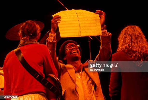 Herbie Hancock is seen with Jaco Pastorius and Joni Mitchell during rehearsals for the Berkeley Jazz Festival at the Greek Theatre in Berkeley,...