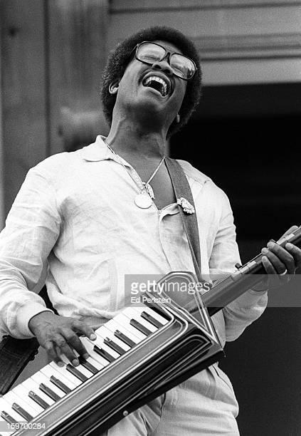 Herbie Hancock performs during the Berkeley Jazz Festival at the Greek Theatre in May 1980 in Berkeley California