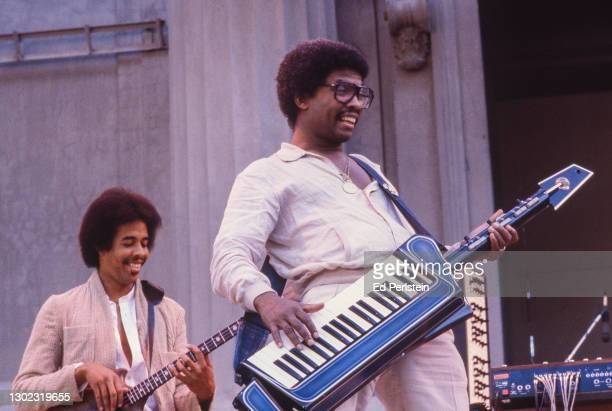 Herbie Hancock performs with Stanley Clarke during the Berkeley Jazz Festival at the Greek Theatre in Berkeley, California on May 25, 1980.
