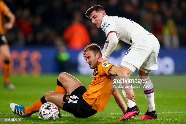 Herbie Kane of Hull City and Mason Mount of Chelsea during the Emirates FA Cup Fourth Round match between Hull City and Chelsea at KCOM Stadium on...