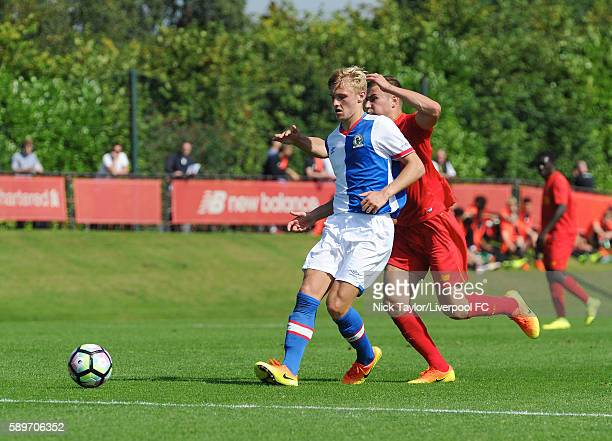 Herbie Kane of Liverpool and Alex Curran of Blackburn Rovers in action during the Liverpool v Blackburn U18 game at the Kirkby Academy on August 15...