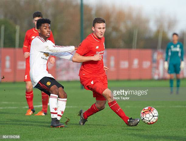 Herbie Kane of Liverpool and Angel Gomes of Manchester United in action during the Liverpool v Manchester United U18 Premier League game at the...