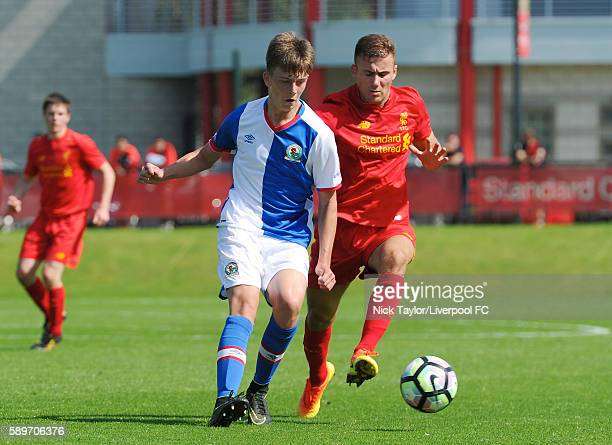 Herbie Kane of Liverpool and Callum Wright of Blackburn Rovers in action during the Liverpool v Blackburn U18 game at the Kirkby Academy on August 15...