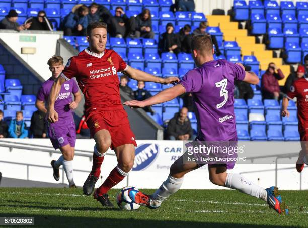 Herbie Kane of Liverpool and Cameron Pring of Bristol City in action during the U23 Premier League Cup between Liverpool and Bristol City at The...