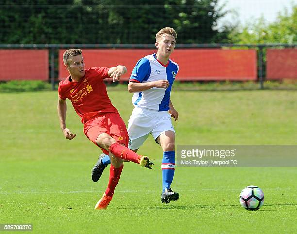 Herbie Kane of Liverpool and Daniel Butterworth of Blackburn Rovers in action during the Liverpool v Blackburn U18 game at the Kirkby Academy on...