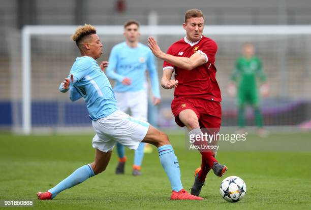 Herbie Kane of Liverpool and Felix Nmecha of Manchester City during the UEFA Youth League QuarterFinal between Manchester City and Liverpool at...