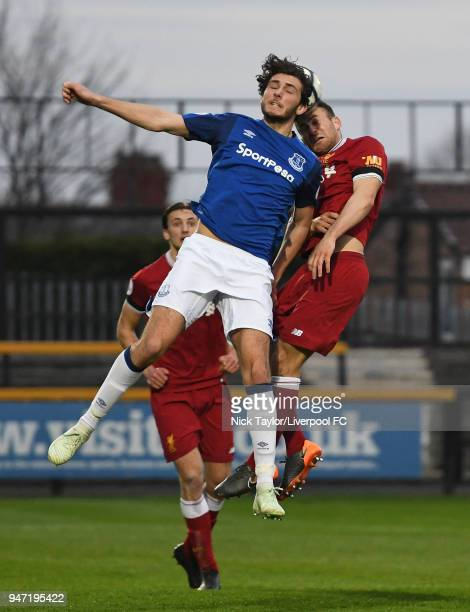 Herbie Kane of Liverpool and Fraser Hornby of Everton in action during the Everton v Liverpool PL2 game on April 16 2018 in Southport England