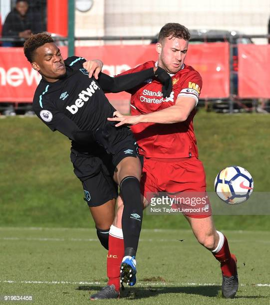 Herbie Kane of Liverpool and Grady Diangana of West Ham United in action during the Liverpool v West Ham United PL2 game at The Kirkby Academy on...