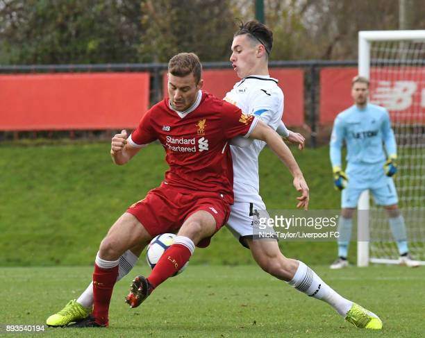 Herbie Kane of Liverpool and Jack Evans of Swansea City in action during the Liverpool U23 v Swansea City U23 PL2 game at The Kirkby Academy on...