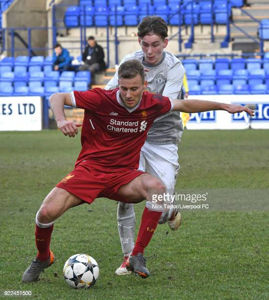 Herbie Kane of Liverpool and James Garner of Manchester United in action during the Liverpool v Manchester United UEFA Youth League game at Prenton...