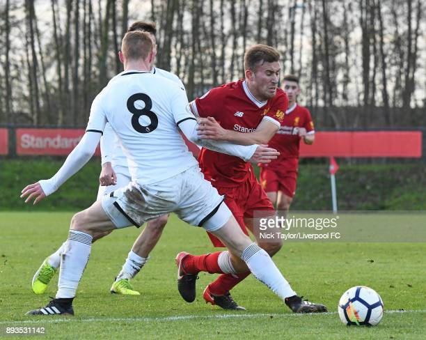 Herbie Kane of Liverpool and Jay Fulton of Swansea City in action during the Liverpool U23 v Swansea City U23 PL2 game at The Kirkby Academy on...