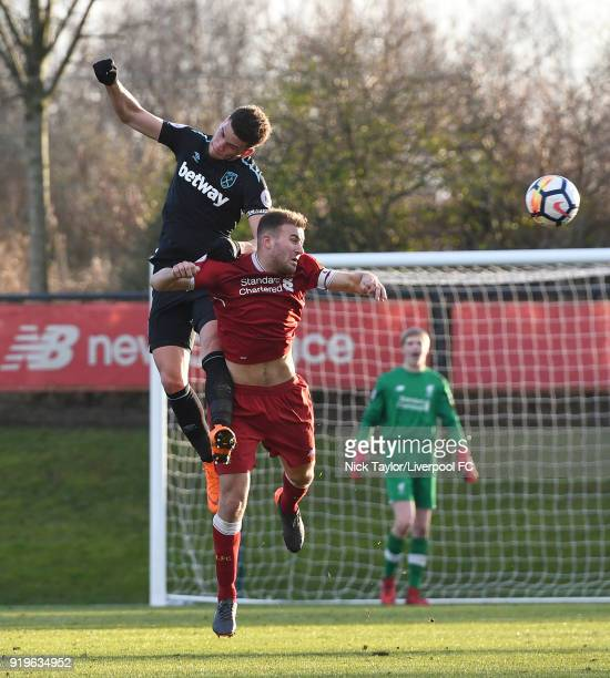 Herbie Kane of Liverpool and Marcus Browne of West Ham United in action during the Liverpool v West Ham United PL2 game at The Kirkby Academy on...