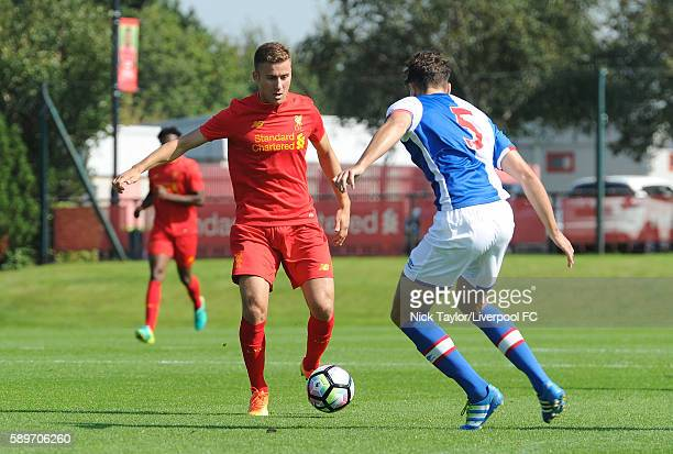 Herbie Kane of Liverpool and Matthew Maknison of Blackburn Rovers in action during the Liverpool v Blackburn U18 game at the Kirkby Academy on August...
