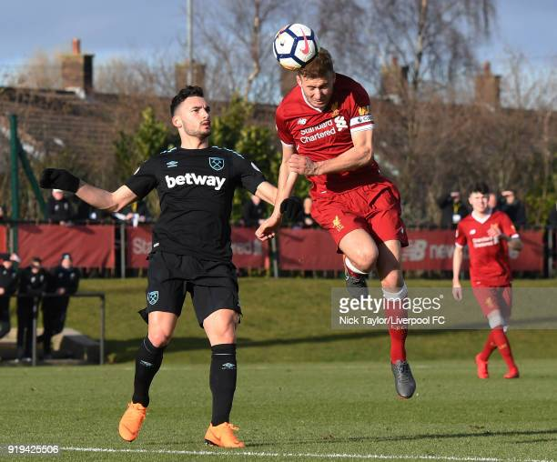 Herbie Kane of Liverpool and Sead Haksabanovic of West Ham United in action during the Liverpool v West Ham United PL2 game at The Kirkby Academy on...