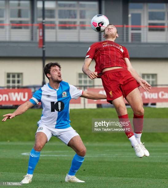 Herbie Kane of Liverpool and Stefan Mols of Blackburn Rovers in action at The Kirkby Academy on October 26 2019 in Kirkby England