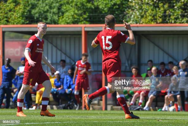Herbie Kane of Liverpool celebrates his goal with Glen McAuley at The Kirkby Academy on May 14 2018 in Kirkby England