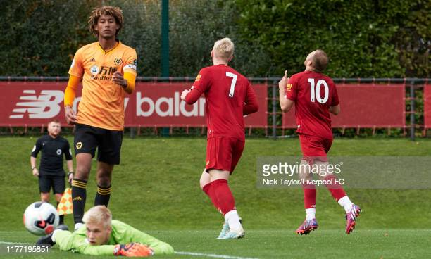 Herbie Kane of Liverpool celebrates scoring Liverpool's second goal during the PL2 game at The Kirkby Academy on October 20 2019 in Kirkby England