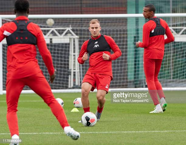Herbie Kane of Liverpool during a training session at Melwood Training Ground on October 15 2019 in Liverpool England