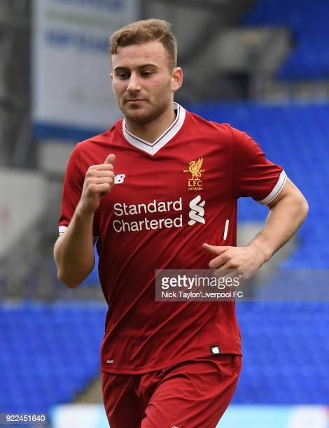 Herbie Kane of Liverpool during the Liverpool v Manchester United UEFA Youth League game at Prenton Park on February 21 2018 in Birkenhead England