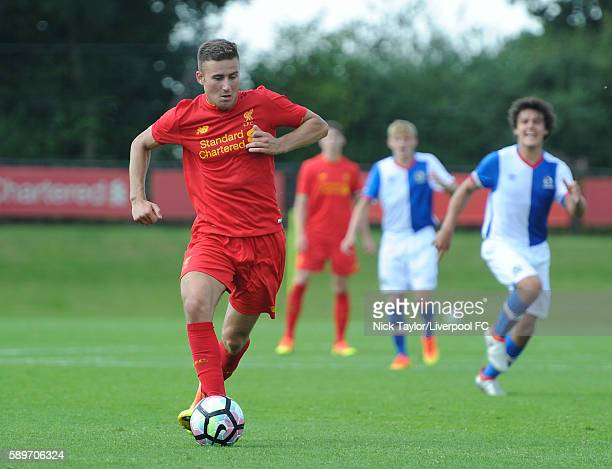 Herbie Kane of Liverpool in action during the Liverpool v Blackburn U18 game at the Kirkby Academy on August 15 2016 in Kirkby England