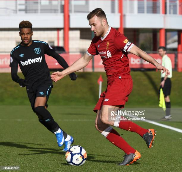 Herbie Kane of Liverpool in action during the Liverpool v West Ham United PL2 game at The Kirkby Academy on February 17 2018 in Kirkby England