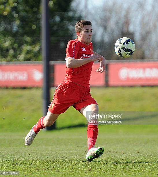 Herbie Kane of Liverpool in action during the U18 Premier League game between Liverpool and Leicester City at the Liverpool FC Academy on March 21...
