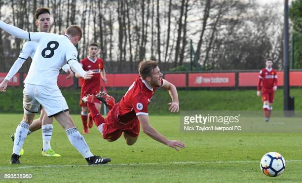 Herbie Kane of Liverpool is fouled by Jay Fulton of Swansea City in action during the Liverpool U23 v Swansea City U23 PL2 game at The Kirkby Academy...