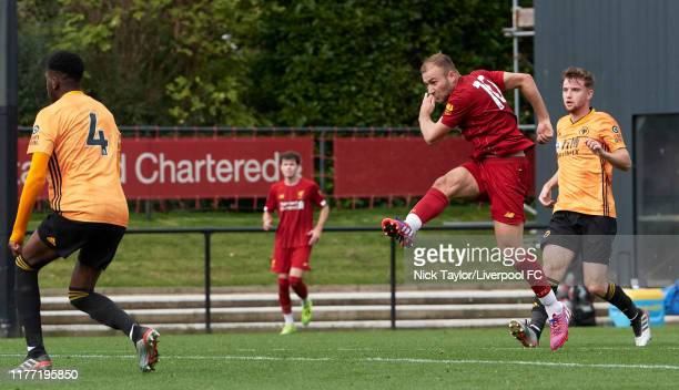 Herbie Kane of Liverpool scores Liverpool's second goal during the PL2 game at The Kirkby Academy on October 20 2019 in Kirkby England