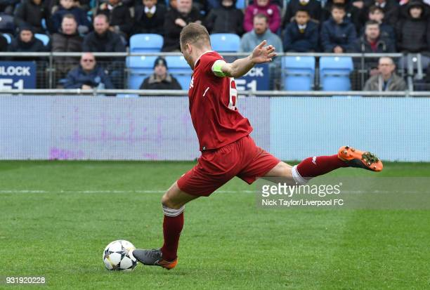 Herbie Kane of Liverpool takes Liverpool's fifth penalty in the shootout and misses during the Manchester City v Liverpool UEFA Youth League game at...