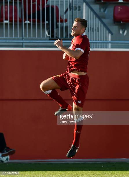 Herbie Kane of Liverpool U19 celebrates after scoring during the UEFA Champions League group E match between Sevilla FC U19 and Liverpool FC U19 at...