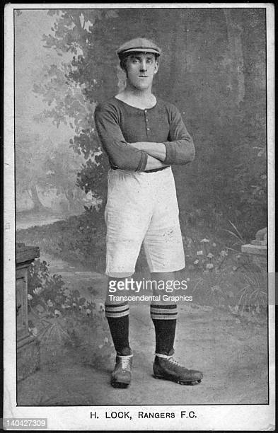 Herbie Lock of the Glasgow Rangers Football Club poses for a photo phostcard in a studio in Glasgow Scotland in 1910