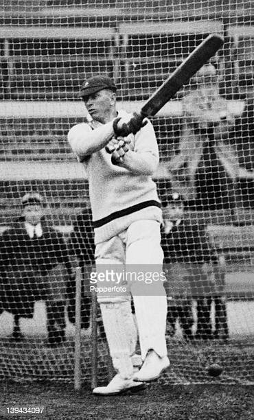Herbie Taylor, the captain of the South Africa cricket team batting in the nets at the Kennington Oval in London in preparation for the first match...