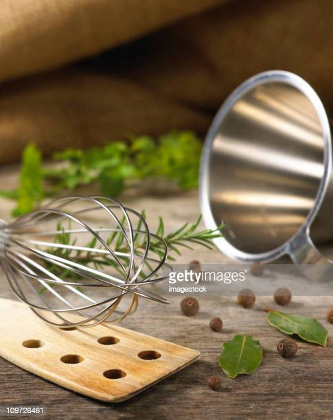 Herbs and cooking utensils