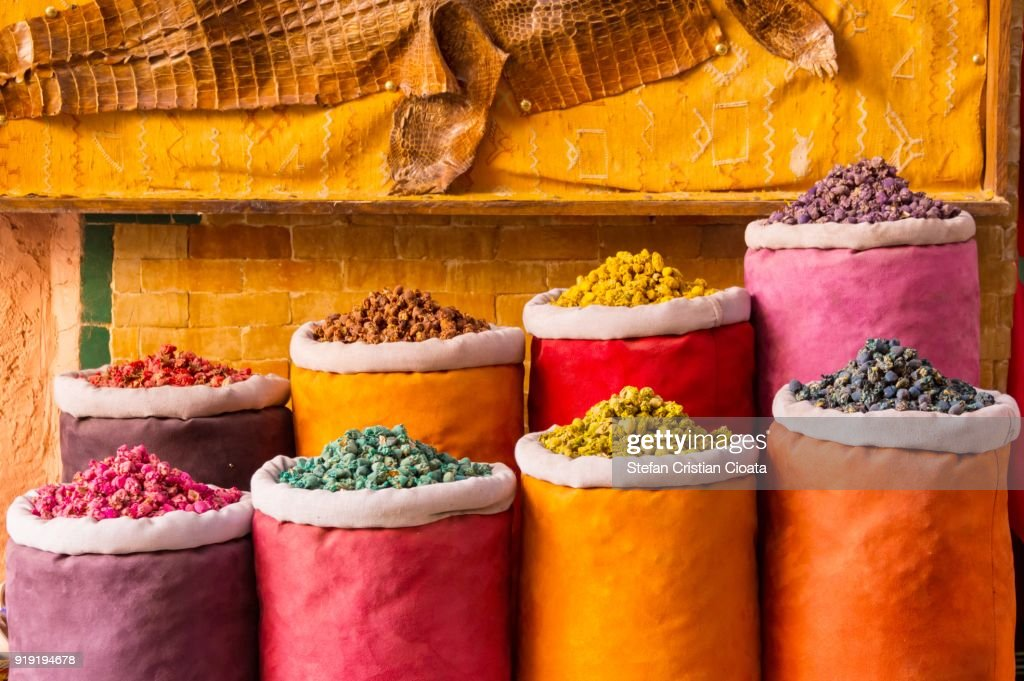 Herbs and dry flowers for sale in Marrakesh souks : Stock Photo