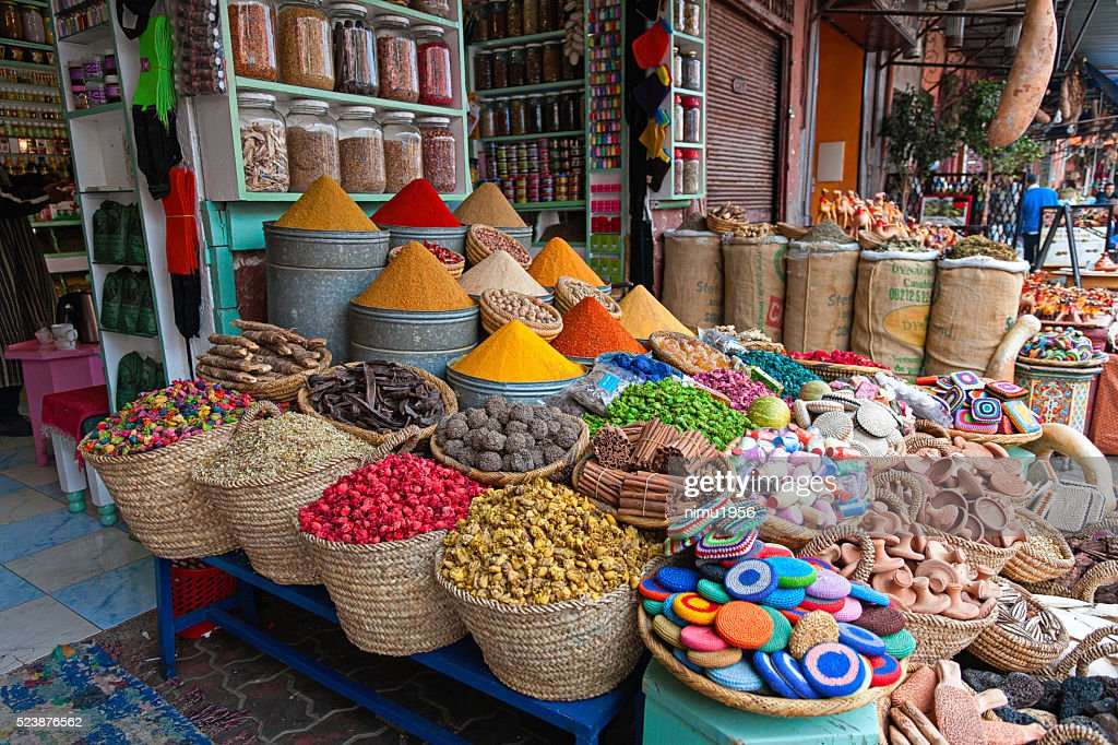 Herbs and dry flowers on a traditional Moroccan market : Stock Photo