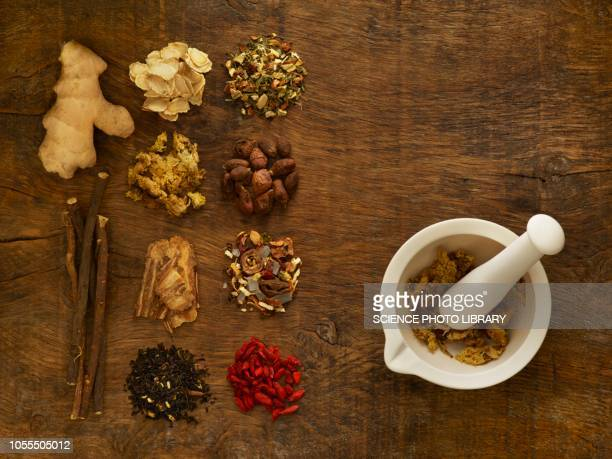 herbs and equipment used for alternative medicine - herb stock pictures, royalty-free photos & images